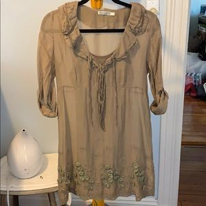 Lt Brown Shift Dress w Flowers-Free People-esque